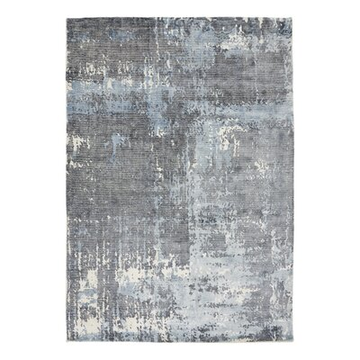Bengta Hand-Knotted Blue/Gray Area Rug Rug Size: 57 x 79