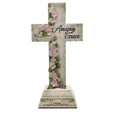 Solar Powered LED Amazing Grace Cross Garden Stake 91560
