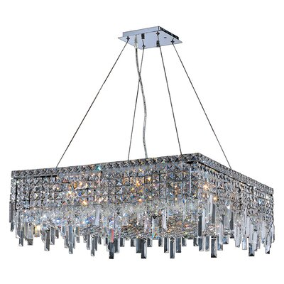 Anjali Solid Brass 12-Light Crystal Chandelier Size: 10.5 H x 28 W x 28 D