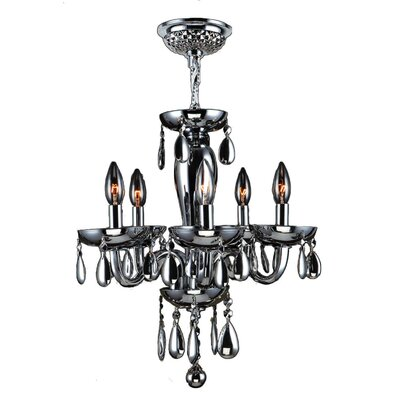 Roni 5-Light Crystal Chandelier Glass Color: Smoke