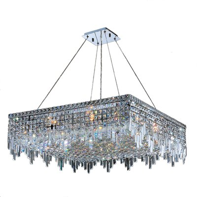 Anjali Solid Brass 12-Light Crystal Chandelier Size: 10.5 H x 32 W x 32 D