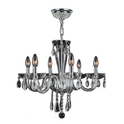 Roni 6-Light Candle-Style Chandelier Glass Color: Clear