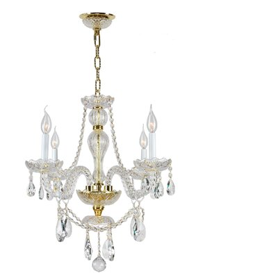 Olde World 4-Light Crystal Chandelier Finish: Gold