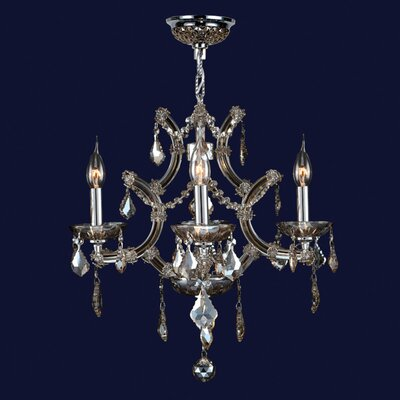 Lyre 4-Light Crystal Chandelier Crystal Color: Golden Teak
