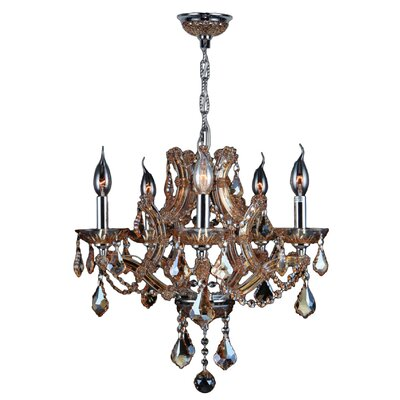 Lyre 5-Light Crystal Chandelier Crystal Color: Amber