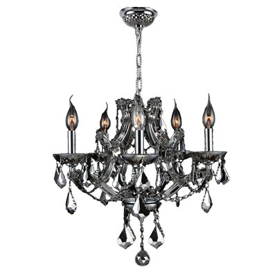 Lyre 5-Light Crystal Chandelier Crystal Color: Chrome