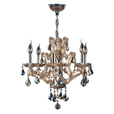 Lyre 6-Light Crystal Chandelier Crystal Color: Amber