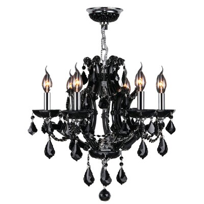 Lyre 6-Light Crystal Chandelier Crystal Color: Black