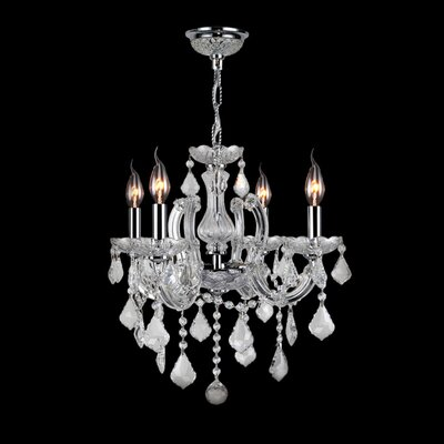 Roslyn Traditional 4-Light Crystal Chandelier Crystal Color: Clear