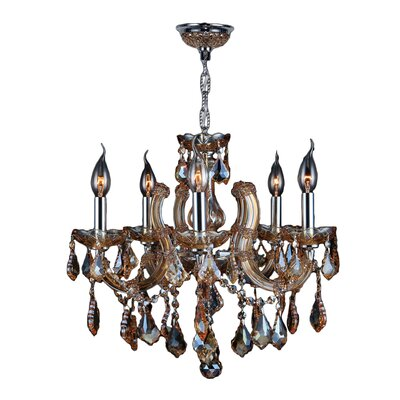 Roslyn 5-Light Crystal Chandelier Crystal Color: Amber