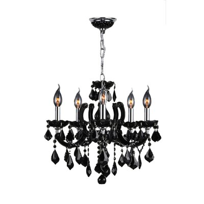 Catherine 5-Light Crystal Chandelier Crystal Color: Black
