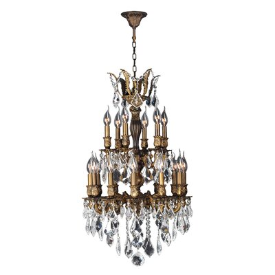 Dodson 18-Light Aluminum Frame Crystal Chandelier