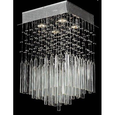 Torrent 4-Light Semi Flush Mount Crystal Color: Clear