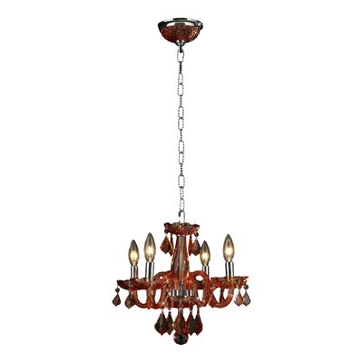 Clarion 4-Light Semi Flush Mount Finish: Coral Red