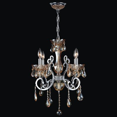Koome 4-Light Crystal Chandelier Crystal Color: Amber