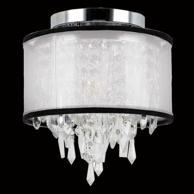 Meera 1-Light Flush Mount Shade Color: White Organza