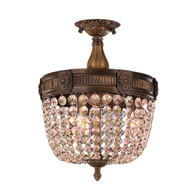 Reimer Traditional 3-Light Semi-Flush Mount Crystal Color: Golden Teak