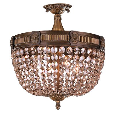 Reimer 4-Light Semi-Flush Mount Crystal Color: Golden Teak