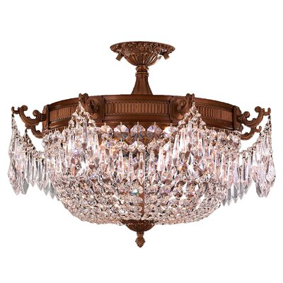 Reimer Antik 3-Light Semi-Flush Mount Crystal Color: Clear