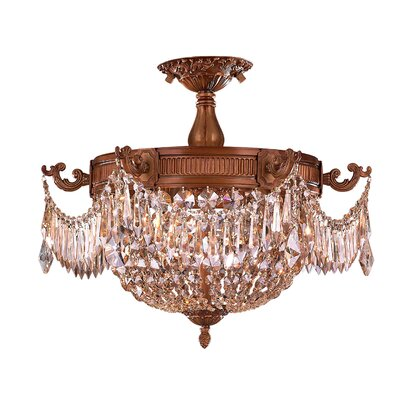 Winchester 3-Light Semi-Flush Mount Crystal Color: Golden Teak