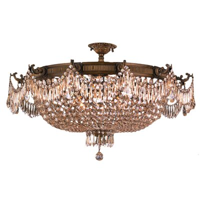 Winchester 12-Light Semi-Flush Mount Crystal Color: Golden Teak, Finish: Antique Bronze