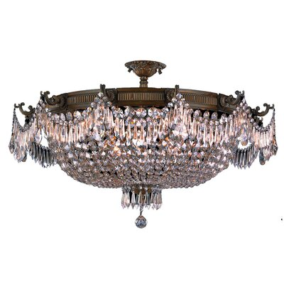 Reimer 12-Light Semi-Flush Mount Crystal Color: Clear, Color: Antique Bronze