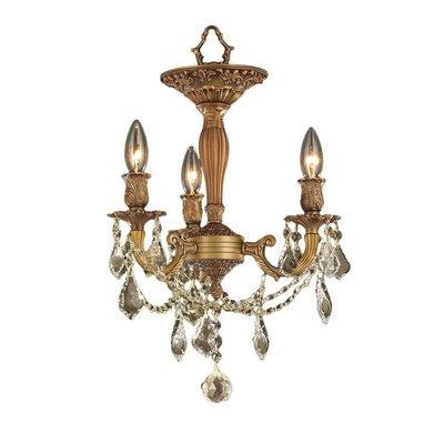 Windsor 3-Light Semi-Flush Mount Crystal Color: Golden Teak