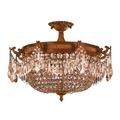 Reimer 4-Light Semi Flush Mount Crystal Color: Golden Teak