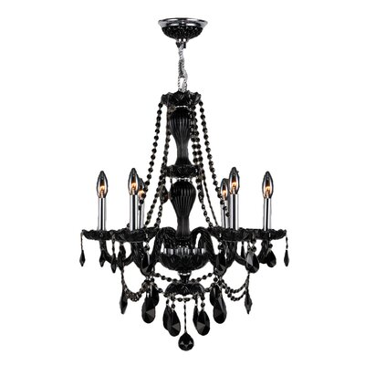 Provence 6-Light Crystal Chandelier Crystal Color: Black