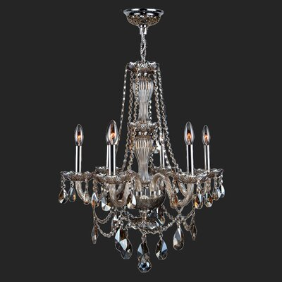 Provence 6-Light Crystal Chandelier Crystal Color: Golden Teak