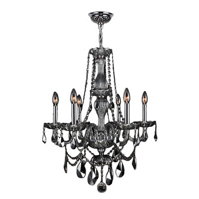 Doggett 6-Light Crystal Chandelier Crystal Color: Smoke