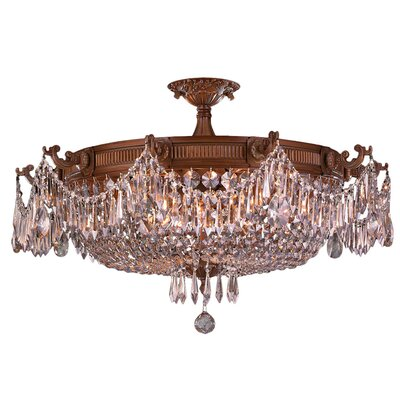 Reimer 10-Light Semi Flush Mount Crystal Color: Clear