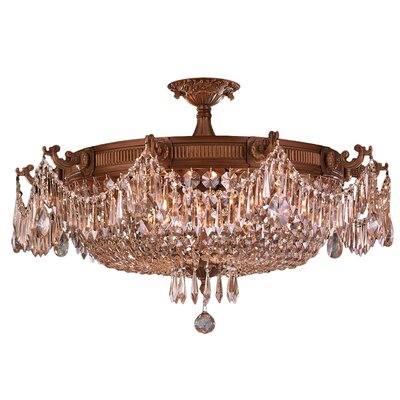 Reimer 10-Light Semi Flush Mount Crystal Color: Golden Teak