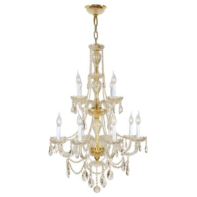 Doggett 12-Light Chain Crystal Chandelier