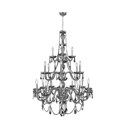 Provence 21-Light Candle-Style Chandelier Crystal Color: Chrome