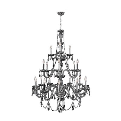 Doggett 21-Light Candle-Style Chandelier Crystal Color: Smoke