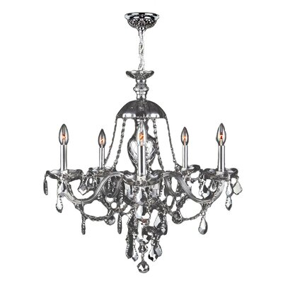 Doggett Traditional 5-Light Crystal Chandelier Crystal Color: Chrome