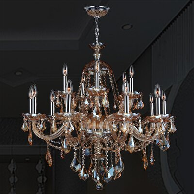 Doggett 15-Light Crystal Chandelier Crystal Color: Amber
