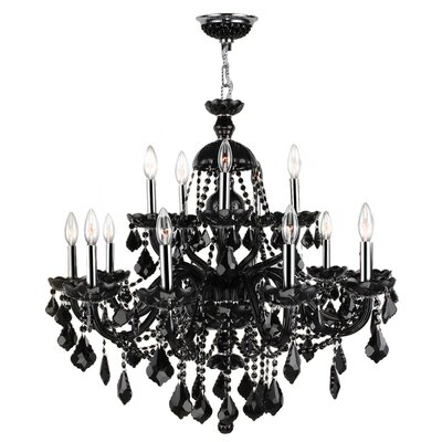 Provence 15-Light Crystal Chandelier Crystal Color: Black