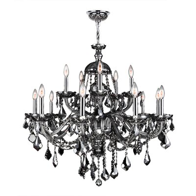 Doggett 15-Light Crystal Chandelier Crystal Color: Smoke