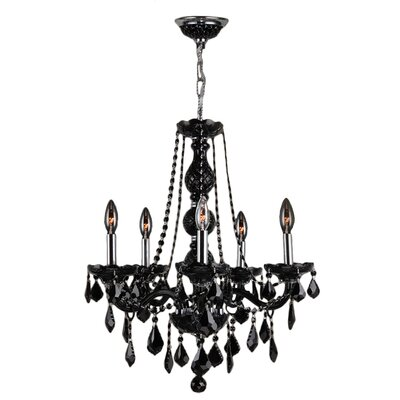 Provence 5-Light Crystal Chandelier Crystal Color: Black