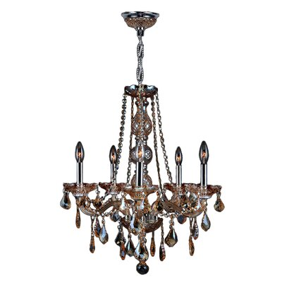 Doggett 5-Light Chain Crystal Chandelier Crystal Color: Amber