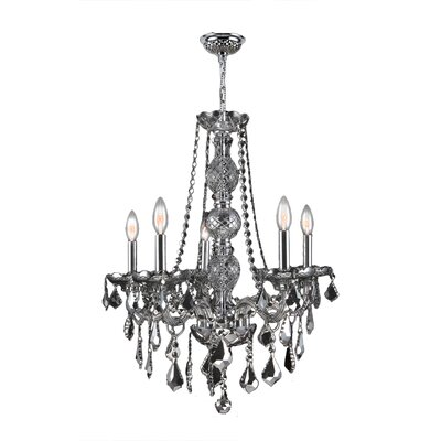 Provence 5-Light Crystal Chandelier Crystal Color: Chrome