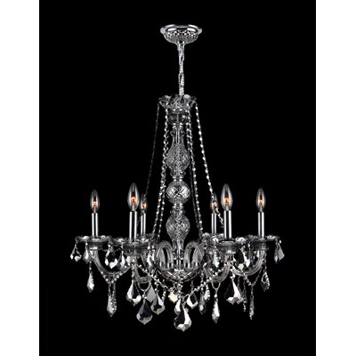 Provence 6-Light Crystal Chandelier Crystal Color: Chrome