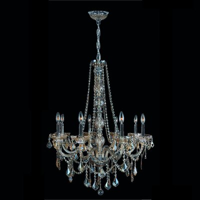 Doggett Traditional 8-Light Crystal Chandelier Crystal Color: Golden Teak