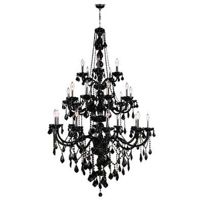 Doggett 25-Light Crystal Chandelier Crystal Color: Black
