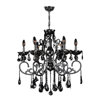 Koome 6-Light Crystal Chandelier Crystal Color: Black