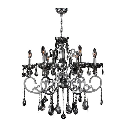 Kronos 6-Light Crystal Chandelier Crystal Color: Chrome