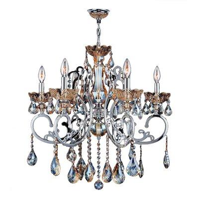 Koome 6-Light Crystal Chandelier Crystal Color: Golden Teak