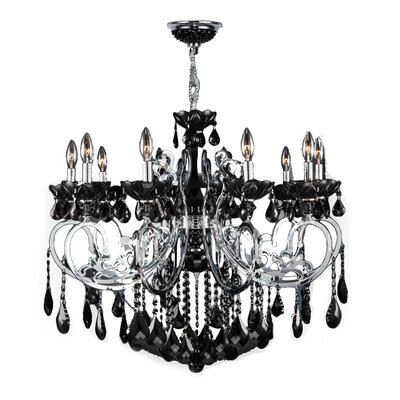 Koome 10-Light Crystal Chandelier Crystal Color: Black